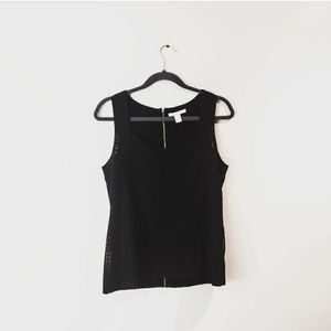 BANANA REPUBLIC Eyelet Lace Tank Top Black